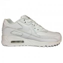 Кроссовки женские Nike Air Max 90 Leather NW715 All White (Найк Аир Макс  90) белые, из натуральной кожи 022ae487447