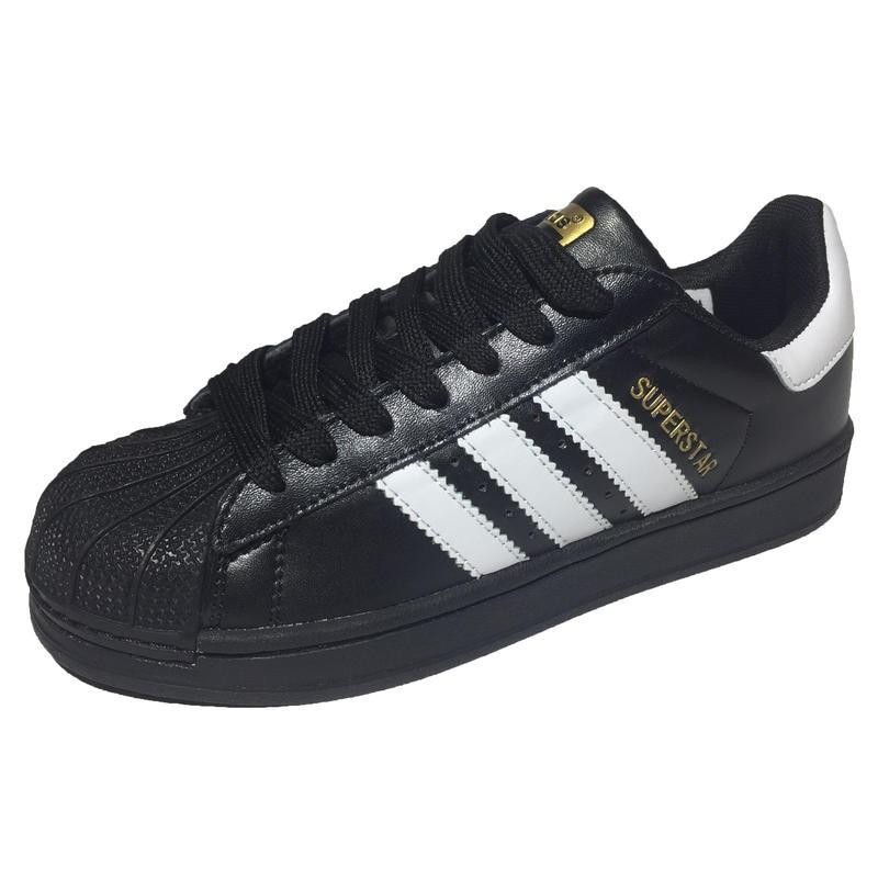 174de29c Женские кроссовки Adidas Superstar All Black (Адидас Суперстар) из  натуральной кожи, черные с белыми полосками