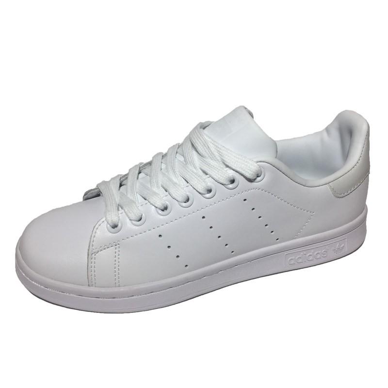 ef71a479 Женские кроссовки Adidas Stan Smith All White (Адидас Стэн Смит) из  натуральной кожи, белые с бежевой пяткой