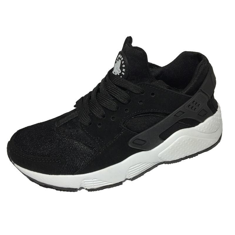 781577f0 Женские кроссовки Nike Air Huarache (Найк Аир Хуарачи) чёрные, из  натуральной замши и вставкой из сетки.