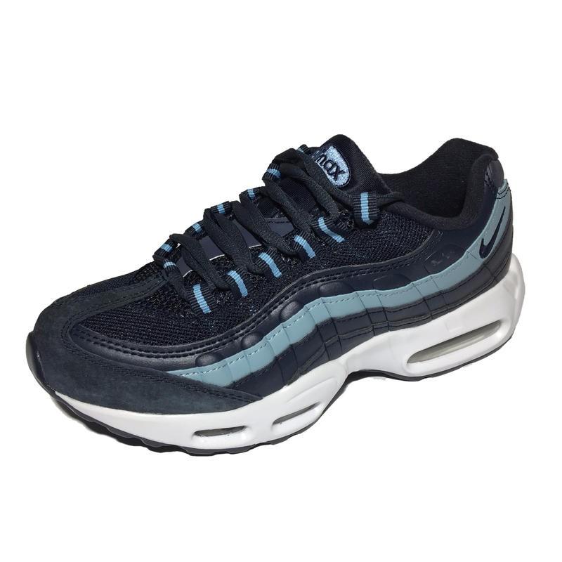 28e0ec81 Женские кроссовки Nike Air Max 95 (Найк Аир Макс 95) синие, из натуральной  замши, экокожи и вставкой из сетки, с белой подошвой