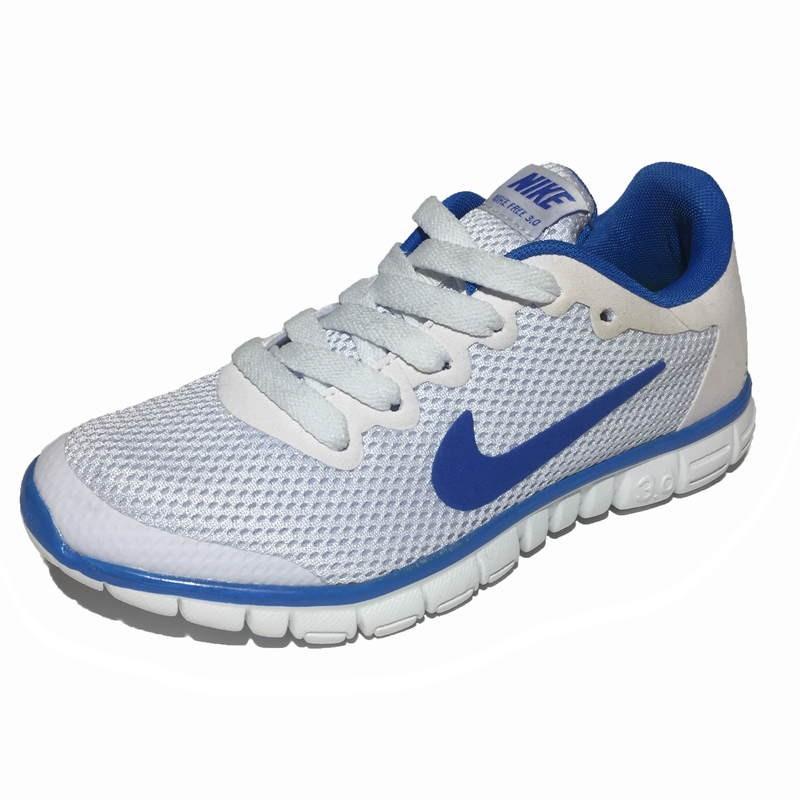 11f9afd8 Женские кроссовки Nike Free Run 3.0 White (Найк Фри Ран) белые с голубым,  из дышащей сетки