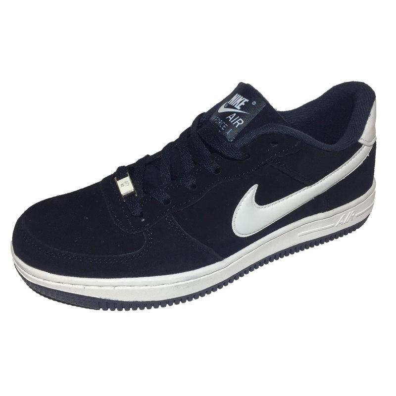 22f80968 Мужские кроссовки Nike Air Force 1 '82 Navy (Найк Аир Форс) сине-белые, из  натуральной замши