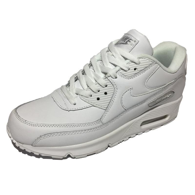 0aaa37c3 Мужские кроссовки Nike Air Max 90 Leather All White (Найк Аир Макс 90) из  натуральной кожи, белые с белой подошвой